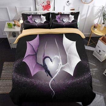 Parure de lit Dragon 3 pièces 2 Dragons Fantasy face à face en forme de cœur