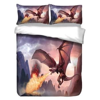 Parure de lit Dragon 3 pièces Dragon Fantasy en vol crachant du feu