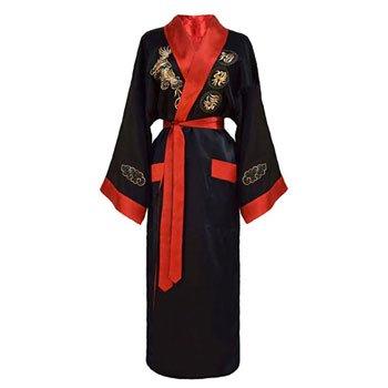 Kimono japonais Dragon réversible noir et rouge pour femme