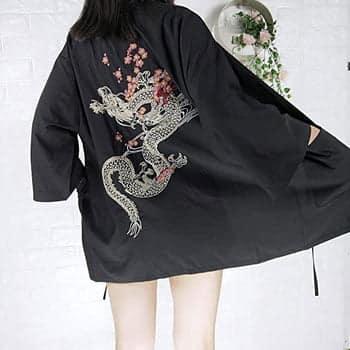 Kimono Dragon Impérial à manches 3/4 pour femmes