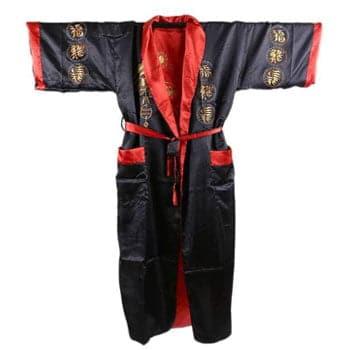 Peignoir Kimono Dragon réversible rouge et noir unisexe