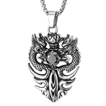 Pendentif Dragon : Collier Dragon chinois en acier inoxydable avec lotus et zircon