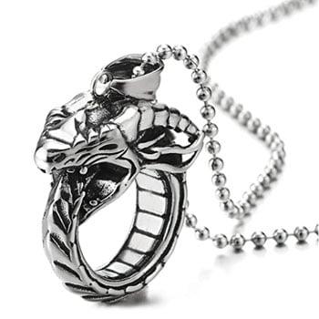 Pendentif Dragon : Collier Dragon viking en forme d'anneau en acier inoxydable poli et noirci