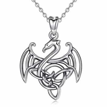 Pendentif Dragon : Collier Dragon celtique stylisé avec corps triquetra en argent sterling 925