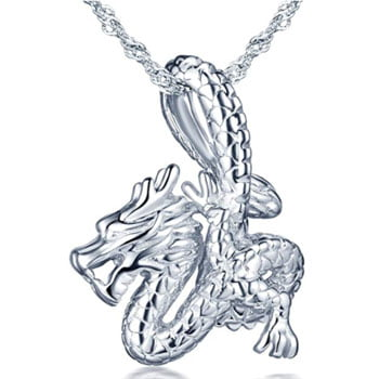 Pendentif Dragon : Collier Dragon chinois lové autour de la chaîne en argent sterling 925
