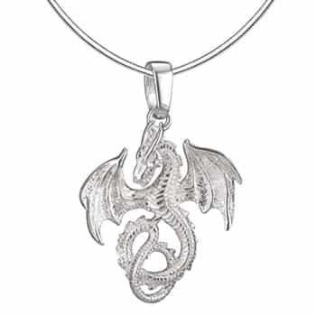 Pendentif Dragon : Collier Dragon Fantasy avec chaîne ronde torsadée en argent sterling 925