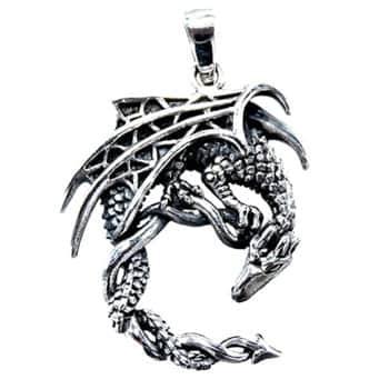 Pendentif Dragon : Collier Dragon Fantasy finement ouvragé en argent sterling 925