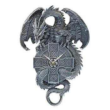 Dragon Gardien du Temps sur horloge murale mécanique celtique