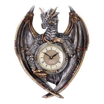 Horloge murale mécanique Dragon steampunk Dracus Horologium