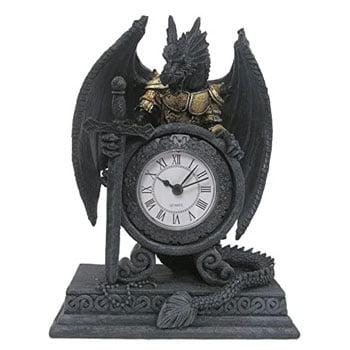 Horloge mécanique Dragon en armure (Draconien) sur socle
