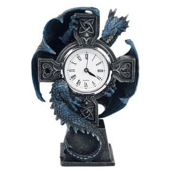 Horloge mécanique Dragon design officiel Anne Stokes sur socle
