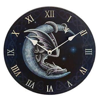 Horloge murale fantaisie Dragon dormant sur un croissant de lune