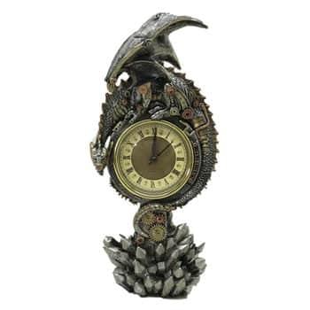 Horloge mécanique Dragon steampunk sur socle