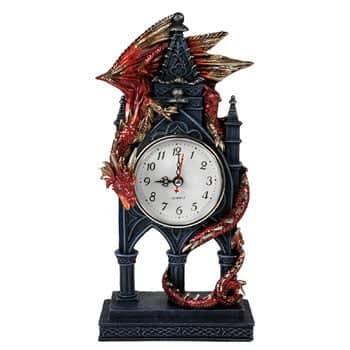 Horloge mécanique Dragon rouge gardien sur socle