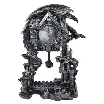 Horloge mécanique avec pendule Dragon & Pentagrame sur socle