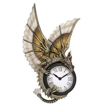 Horloge murale mécanique Dragon steampunk design officiel Anne Stokes sur socle