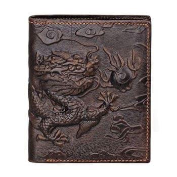 Portefeuille Dragon chinois en relief avec perle du bonheur