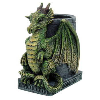Pot à crayons Dragon d'émeraude Fantasy avec motifs celtiques