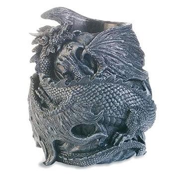 Pot à crayons Dragon gothique enroulé sur lui-même