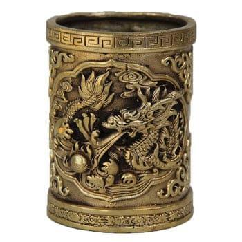 Pot à crayons Dragon asiatique en bronze avec idéogramme