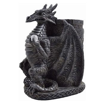 Pot à crayons Dragon gothique avec perle et motifs celtiques