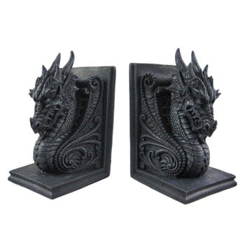 Serre-Livres Têtes de Dragon médiéval avec ailes