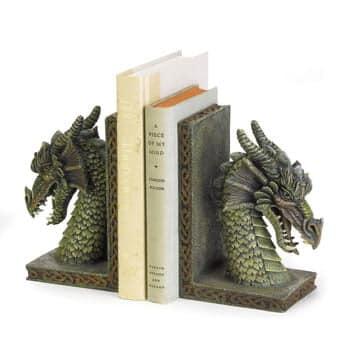 Serre-Livres Tête de Dragon vert Fantasy