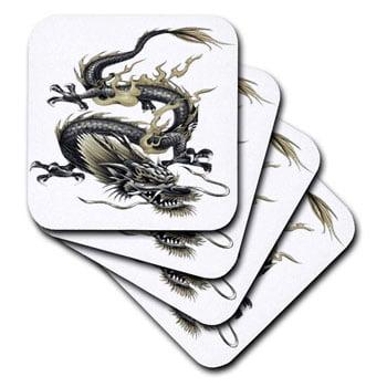 Sous-verre Dragon asiatique antidérapant en céramique (lot de 4)