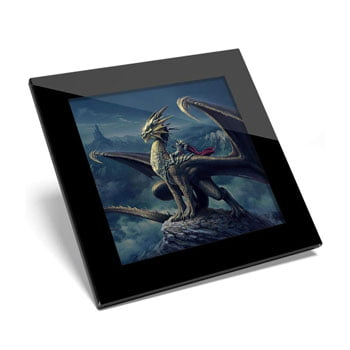"""Sous-verre """"Dragon Knight"""" avec impression directe sur verre (lot de 1)"""