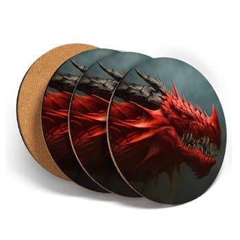 Sous-verre Dragon rouge en liège et vinyle (lot de 4)