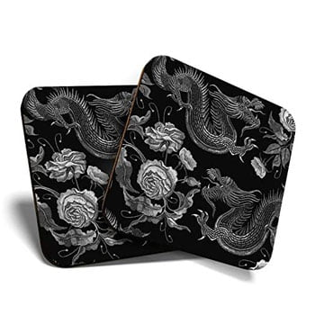 Sous-verre Dragon chinois en liège et impression vinyle (lot de 2)