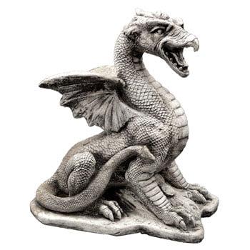 Statue de Dragon de jardin gothique en pierre finement détaillée