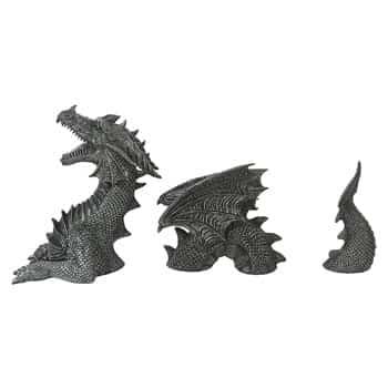 Statue de Dragon de jardin en 3 parties en polyrésine