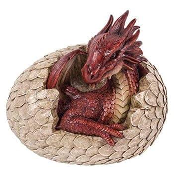 Statue de Bébé Dragon rouge sortant de son œuf peint à la main