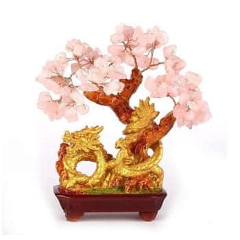 Arbre Dragon Feng Shui en quartz rose Amour et Fortune