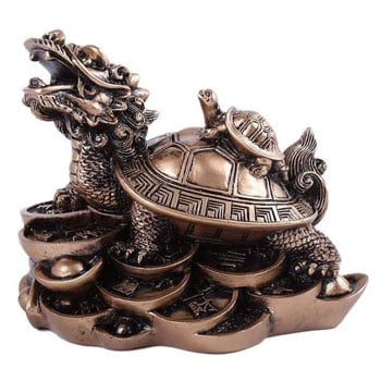 Dragon Tortue Feng Shui avec petit sur la carapace Prospérité et Longévité
