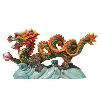 Grand Dragon chinois Feng Shui coloré avec perle de chance