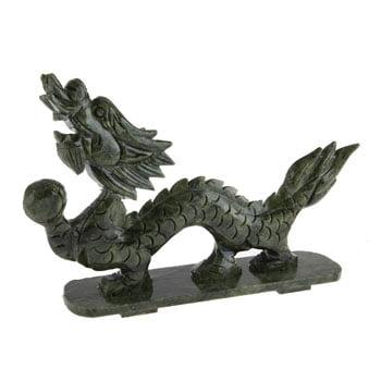 Grand Dragon chinois Feng Shui en pierre de jade