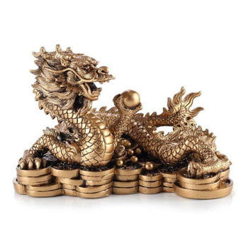 Remarquable statuette de Grand Dragon chinois Feng shui avec perle de bonheur