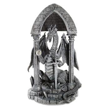 Figurine Dragon sous voûte gothique avec épée et orbe