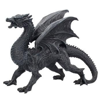 Figurine Dragon noir majestueux guettant les intrus