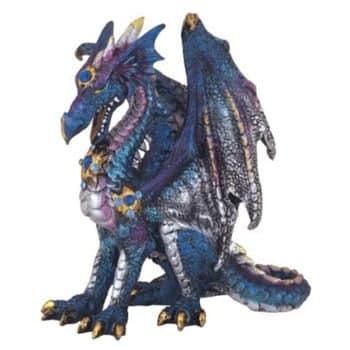 Figurine Dragon bleu majestueux peint à la main
