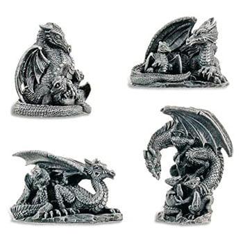 Figurine Dragon Ensemble de 4 pièces Maman Dragon et son petit