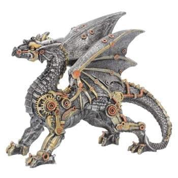 Figurine Dragon steampunk Dracus Machina argenté