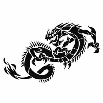 Sticker Dragon asiatique monochrome noir