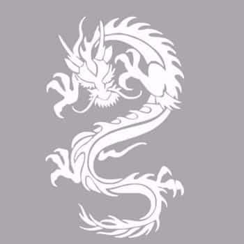 Sticker Dragon asiatique monochrome blanc