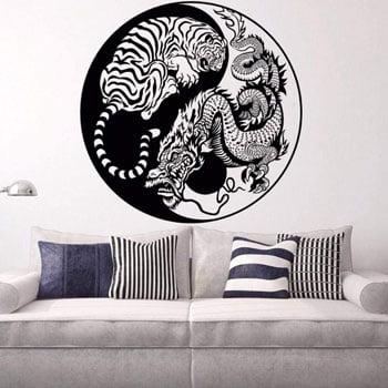 Sticker Tigre & Dragon asiatique monochrome noir dans un Yin et Yang