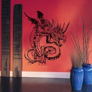 Sticker Dragon asiatique monochrome noir toutes griffes dehors