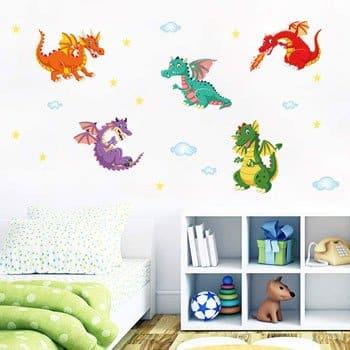 Stickers Dragons Etoiles et Nuages