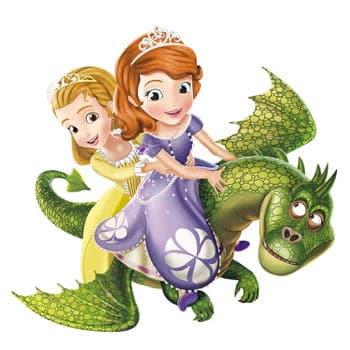 Sticker Princesse Sofia et Princesse Ambre sur un dragon